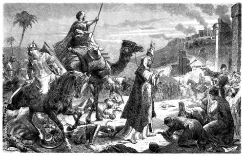 Islam : Caliph Omar entering Jerusalem - 7th century Billede på lærred