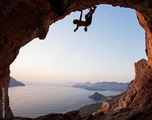 Silhouette of a rock climber at sunset, Kalymnos Island, Greece - 45663317