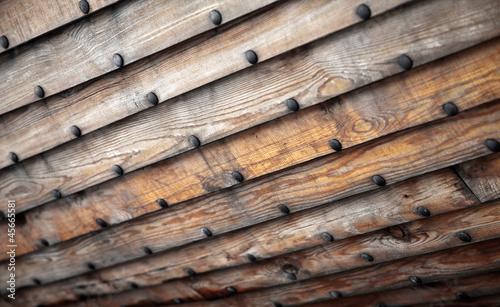 Foto auf AluDibond Schiff Old wooden ship hull texture