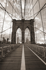 Naklejka Czarno-Biały Brooklyn Bridge in New York City. Sepia tone.