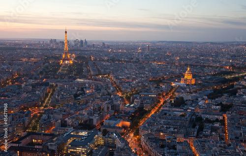 Printed kitchen splashbacks Eiffel Tower Night Paris. France. Top view.