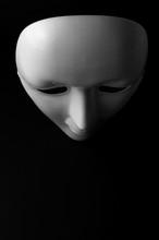White Opera Mask On Black Bacground