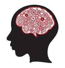 Woman Silhouette With Thinking Brain Gears