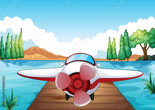 Canvas Prints River, lake Jetty and aeroplane