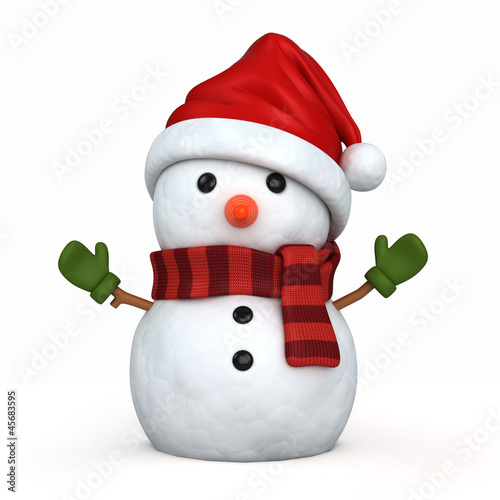 Photo  3d render of a snowman wearing santa hat and gloves