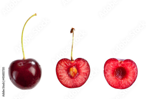 Whole and half cut cherry
