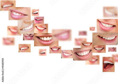 Faces of smiling people in set. Healthy teeth. Smile #45685958