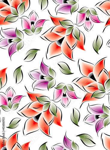 Keuken foto achterwand Abstract bloemen Seamless flowers for textile fabrics