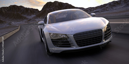 sport car fast run under a desert sunset 3d rendering