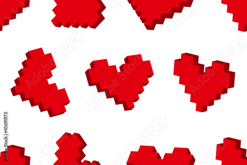 Tuinposter Pixel Pixel hearts seamless background pattern. Vector illustration.