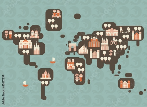 Poster de jardin Route funky cartoon map of the world