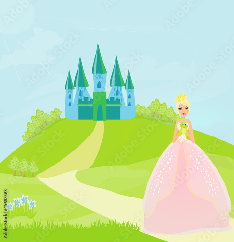 Poster Castle Beautiful young princess holding a big green frog