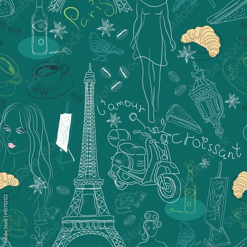 Poster Doodle Seamless background with different Paris doodle elements
