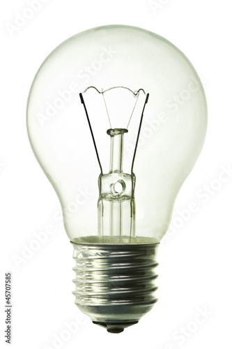 Photographie  incandescent bulb isolated on pure white background
