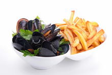 Mussels And French Fries Isolated