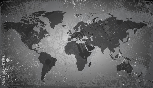 Foto op Canvas Wereldkaart World map on grunge background