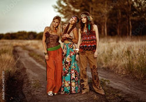 Fotografie, Obraz  Girls of hippie in the field