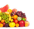Huge group of fresh fruits isolated on a white