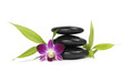 Three zen stones with orchid and bamboo leaf isolated