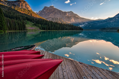 Fototapete - Canoe Dock with Mountain Reflection