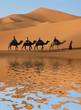 Leinwandbild Motiv Camel Caravan in Sahara Desert