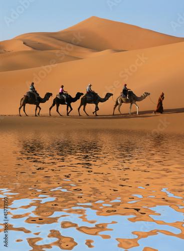 Papiers peints Maroc Camel Caravan in Sahara Desert