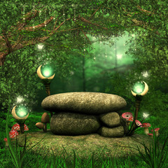 Fototapeta Fantasy Skały w magicznym lesie z lampionami i grzybami