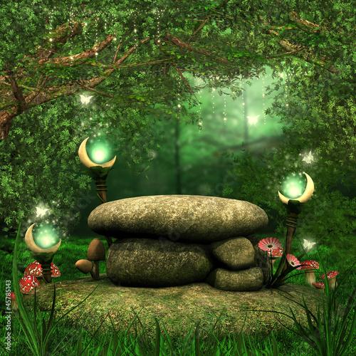 Skały w magicznym lesie z lampionami i grzybami - 45785143