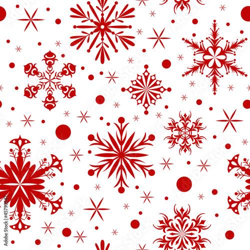 Fototapeta Red christmas seamless background with snowflakes obraz na płótnie