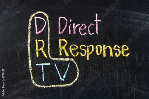 The word DRTV handwritten with chalk  on a blackboard Poster