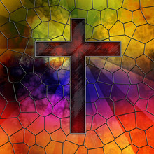 Red Glass Cross On Stained Glass Window Panel