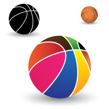 Illustration Of Beautiful Colorful Basket Ball Along With Brown