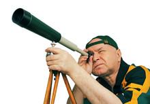 Man, An Astronomer Looking Through A Telescope.