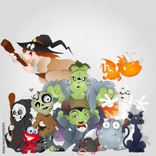 Poster de jardin Creatures Halloween Monsters Family - Devil, Cat, Witch and More
