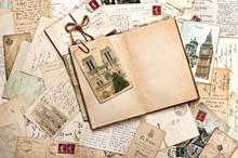 Old Postcards. Vintage Travel Background