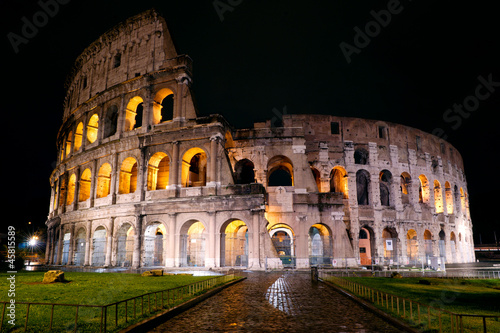 Poster Rome Colosseum at night, Rome, Italy