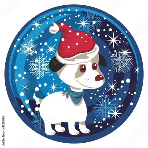 Poster Dogs Christmas Snow Globe With Puppy