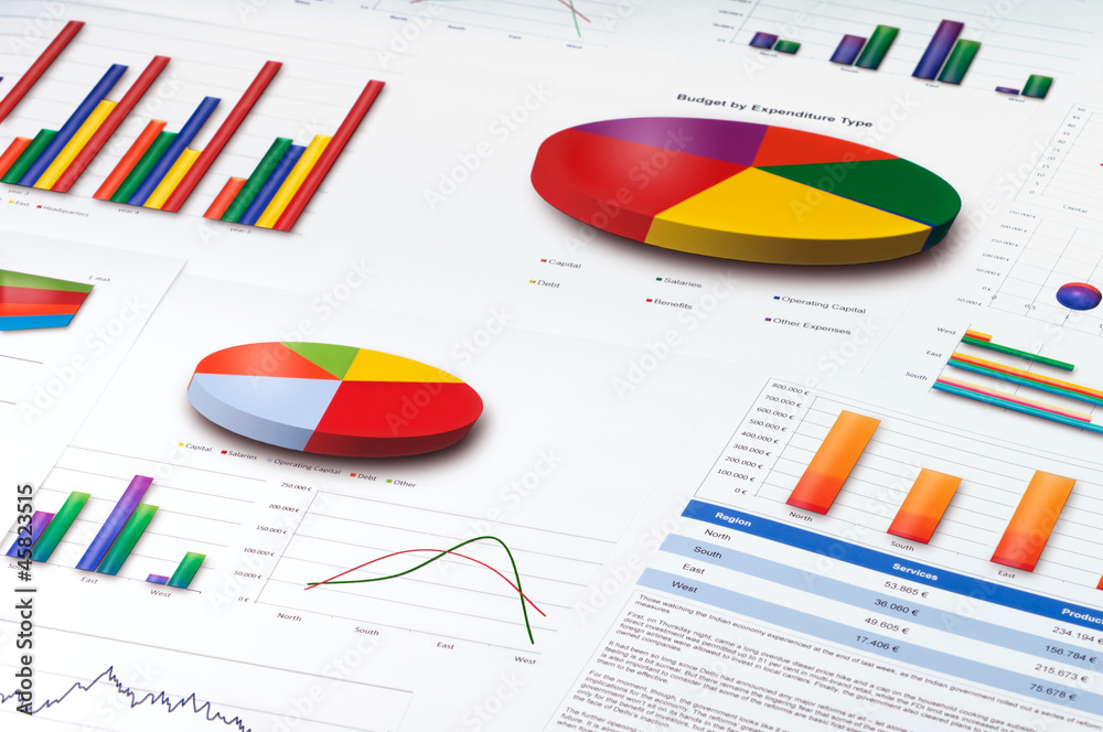 Fototapeta Graphs and Charts Report