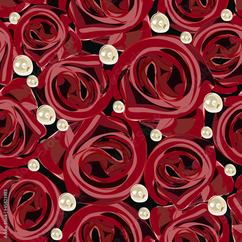 Keuken foto achterwand Abstract bloemen Saemless background with roses and pearls.