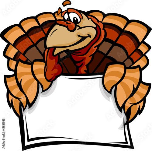 Fotografie, Obraz  Happy Thanksgiving Holiday Turkey Holding Sign Cartoon Vector Il