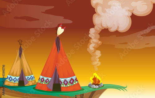 Photo Stands Indians tent house and fire
