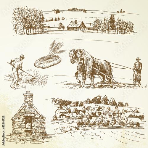 Fotobehang Wit rural landscape, agriculture, village