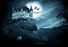 Halloween, Castillo Con Luna, Noche
