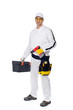 construction worker in white coveralls with a tool box screw dri