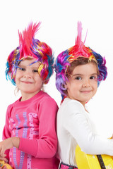 girl with a colorful wig
