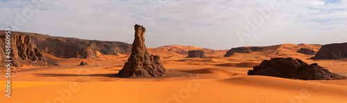Fotobehang Algerije Panorama of sand dunes, Sahara desert