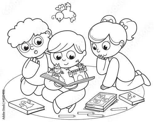 Kolorowanie ilustracja przyjaciół razem czyta książkę pop-up.