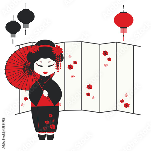 Papiers peints Rouge, noir, blanc Vector illustration of a geisha girl with umbrella
