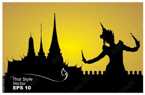 Foto  Thailändische Tanzfrau mit Tempel in Thailand-Hintergrundschattenbild