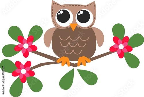 Poster Uilen cartoon sweet little brown owl